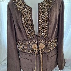 Silk Cotton Jacket Blazer Beading Embellishment